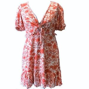 Topshop Knot Dress - Red White Floral Knit Size 4